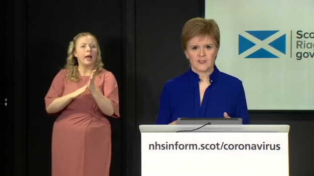 nicola sturgeon saying she doesn't know what boris johnson will announce regarding the coronavirus and will judge it accordingly once public knowledge - wisdom stock videos & royalty-free footage