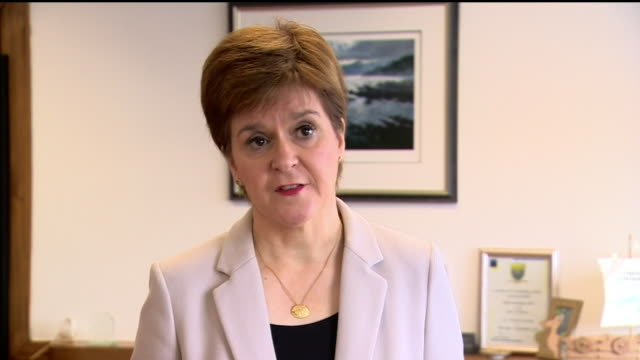 """nicola sturgeon saying the glasgow knife attack is not a terrorist incident - """"bbc news"""" stock videos & royalty-free footage"""