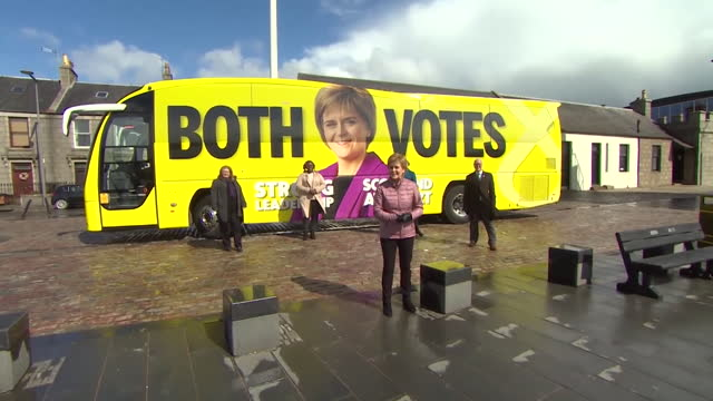 nicola sturgeon, snp leader, stood outside battle bus in aberdeen as she campaigns in the scottish elections - land vehicle stock videos & royalty-free footage