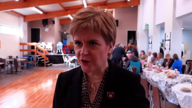 nicola sturgeon speaking after taking part in a dance at lochside community centre in dumfries the snp leader warned that the nhs was at risk under... - scottish national party stock videos & royalty-free footage