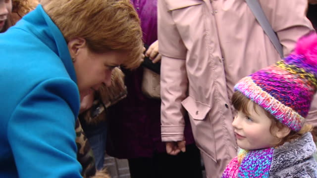 nicola sturgeon speaking to members of the public on the election campaign trail - nicola sturgeon stock videos & royalty-free footage