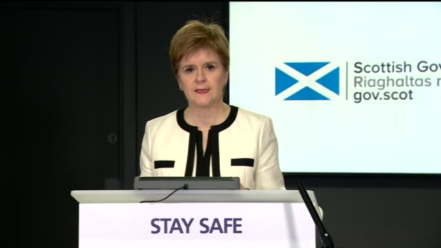 nicola sturgeon talking about new coronavirus measures restricting visits to other households being imposed in glasgow - other stock videos & royalty-free footage