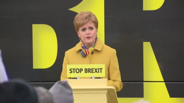 nicola sturgeon urging voters to come together to lock the tories out of government and escape the mess that is brexit - messy stock videos & royalty-free footage