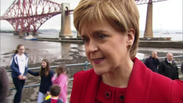 nicola sturgeon warns the snp will push for an end to austerity; sturgeon posing for selfies with supporters nicola sturgeon msp interview sot - as a... - itv weekend late news点の映像素材/bロール