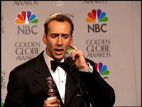 nicolas cage at the 1996 golden globe awards at the beverly hilton in beverly hills california on january 21 1996 - nicolas cage stock videos & royalty-free footage