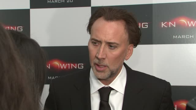 nicolas cage at the special new york screening of knowing at new york ny. - nicolas cage stock videos & royalty-free footage