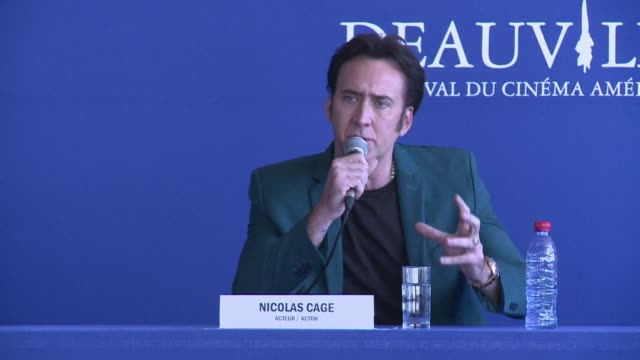 nicolas cage comes to deauville to talk about joe a film in which he plays an ex convict with a good heart who befriends a young employee played by... - nicolas cage stock videos & royalty-free footage