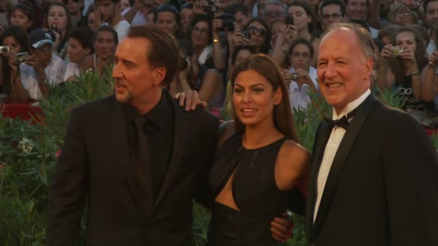 nicolas cage, eva mendes, werner herzog at the bad lieutenant: port of call new orleans: venice film festival 2009 at venice . - nicolas cage stock videos & royalty-free footage