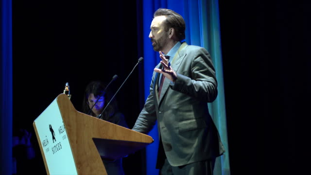 nicolas cage gives an acceptance speech for his gran honorific award on day three at the sitges film festival 2018 on october 6 2018 in sitges spain - nicolas cage stock videos & royalty-free footage