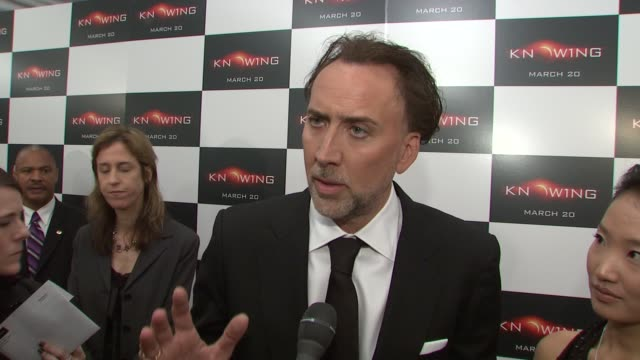 nicolas cage on his role in the film and of the responsibility of knowing the future. at the special new york screening of knowing at new york ny. - nicolas cage stock videos & royalty-free footage