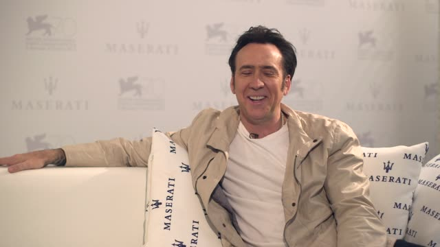 interview nicolas cage on learning how to be self aware in public at 'joe' interviews on august 31 2013 in venice italy - nicolas cage stock videos & royalty-free footage