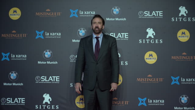 nicolas cage poses on the red carpet during day three at the sitges film festival 2018 on october 6 2018 in sitges spain - nicolas cage stock videos & royalty-free footage