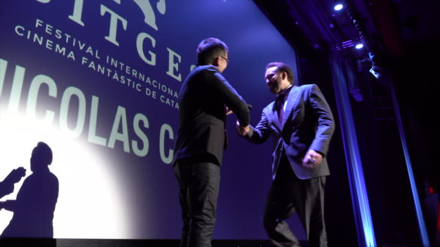 nicolas cage receives the gran honorific award on day three at the sitges film festival 2018 on october 6 2018 in sitges spain - nicolas cage stock videos & royalty-free footage