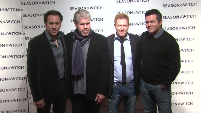 nicolas cage, ron perlman, ryan kavanaugh and tucker tooley at the 'season of the witch' new york premiere at new york ny. - tucker stock videos & royalty-free footage