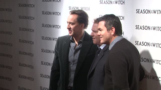 nicolas cage, ryan kavanaugh and tucker tooley at the 'season of the witch' new york premiere at new york ny. - tucker stock videos & royalty-free footage