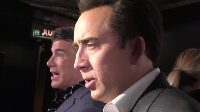 nicolas cage talks about comic books on the red carpet at the runner premiere at chinese 6 theater in hollywood in celebrity sightings in los angeles - nicolas cage stock videos & royalty-free footage
