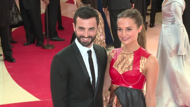 Nicolas Ghesquiere and Alicia Vikander at Manus x Machina Fashion in an Age of Technology Costume Institute Benefit Gala Arrivals at Metropolitan...
