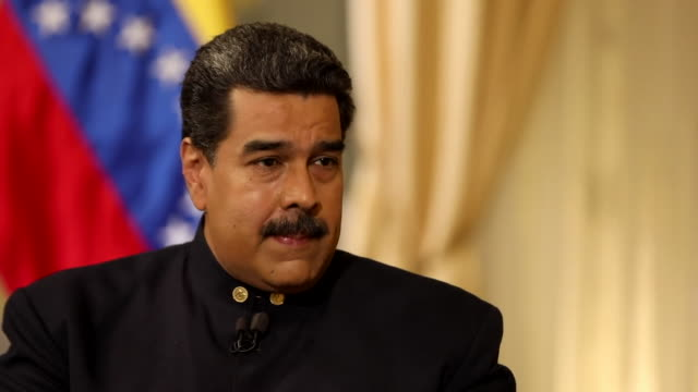 Nicolas Maduro saying the USA has 'created a humanitarian crisis in Venezuela to justify military intervention'
