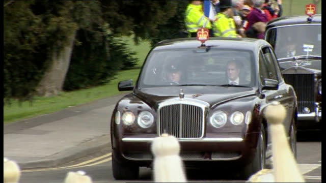 nicolas sarkozy and carla bruni arrival in windsor and inspection of guard of honour presidential motorcade arriving nicolas sarkozy and prince... - guard of honour stock videos and b-roll footage