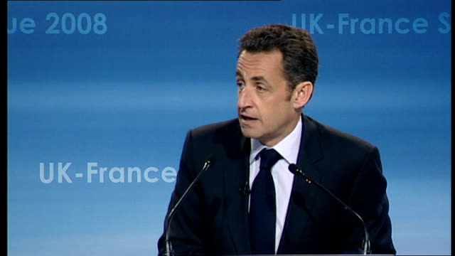Nicolas Sarkozy and Gordon Brown UKFrance summit 2008 Nicolas Sarkozy press conference SOT You said that two countries are notably absent from the...