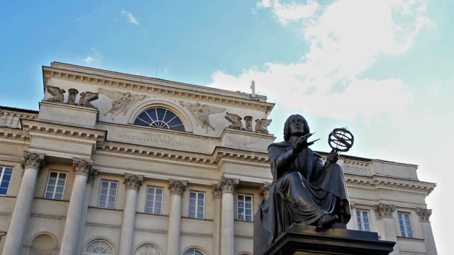 nicolaus copernicus monument, warsaw poland - warsaw stock videos & royalty-free footage