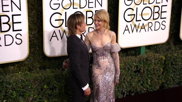 nicole kidman and keith urban at 74th annual golden globe awards arrivals at 74th annual golden globe awards arrivals at the beverly hilton hotel on... - nicole kidman stock videos & royalty-free footage