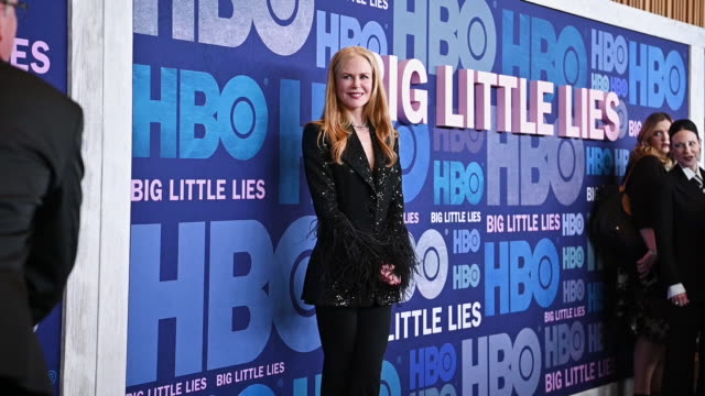 "nicole kidman at the ""big little lies"" season 2 premiere at jazz at lincoln center on may 29, 2019 in new york city. - ニコール・キッドマン点の映像素材/bロール"