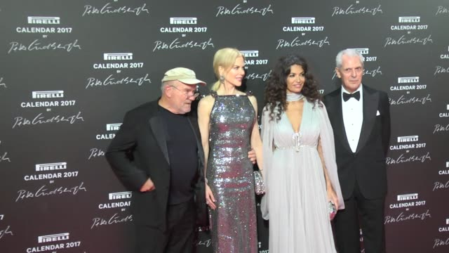 Nicole Kidman Peter Lindbergh Afef Jnifen and Marco Tronchetti Provera attend the Pirelli calendar photocall at La Cite Du Cinema on November 29 2016...