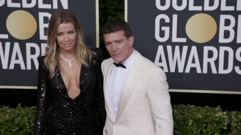 nicole kimpel and antonio banderas at 77th annual golden globe awards at the beverly hilton hotel on january 05, 2020 in beverly hills, california. - antonio banderas video stock e b–roll