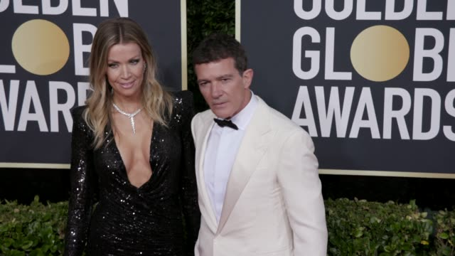 nicole kimpel and antonio banderas at 77th annual golden globe awards at the beverly hilton hotel on january 05 2020 in beverly hills california - antonio banderas stock videos & royalty-free footage