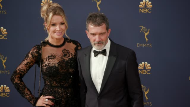 nicole kimpel and antonio banderas at the 70th emmy awards arrivals at microsoft theater on september 17 2018 in los angeles california - antonio banderas stock videos & royalty-free footage