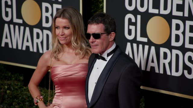 nicole kimpel and antonio banderas at the 76th annual golden globe awards arrivals 4k footage at the beverly hilton hotel on january 06 2019 in... - antonio banderas stock videos & royalty-free footage
