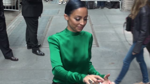 nicole richie poses with fans while departing from the view studio on october 15, 2014 in new york city. - nicole richie stock videos & royalty-free footage