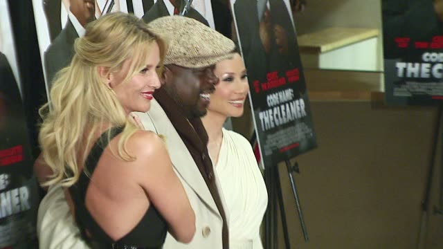 vídeos de stock e filmes b-roll de nicollette sheridan cedric the entertainer and lucy liu at the 'code name the cleaner' premiere at empire 25 theatres in new york new york on january... - nicollette sheridan