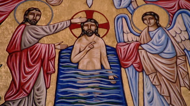 stockvideo's en b-roll-footage met nicosia, cyprus tilt up on a painting that depicts the baptism of christ inside the maronite archbishopric of cyprus. - apostel