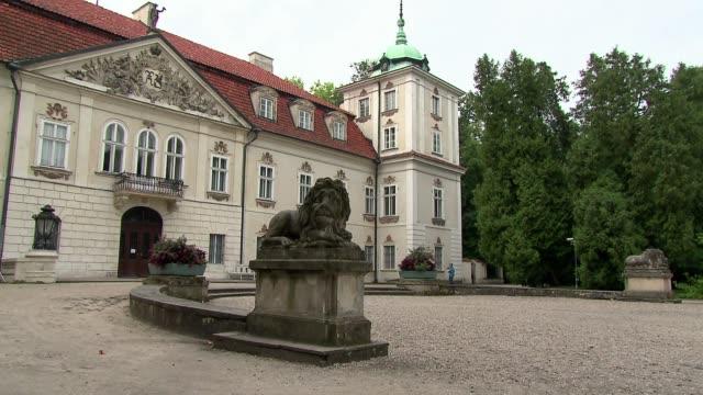 vídeos y material grabado en eventos de stock de nieborow - stone lions in front of palace - frontón característica arquitectónica