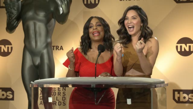 SPEECH Niecy Nash Olivia Munn at the 24th Annual Screen Actors Guild Awards Nominations at Pacific Design Center on December 13 2017 in West...