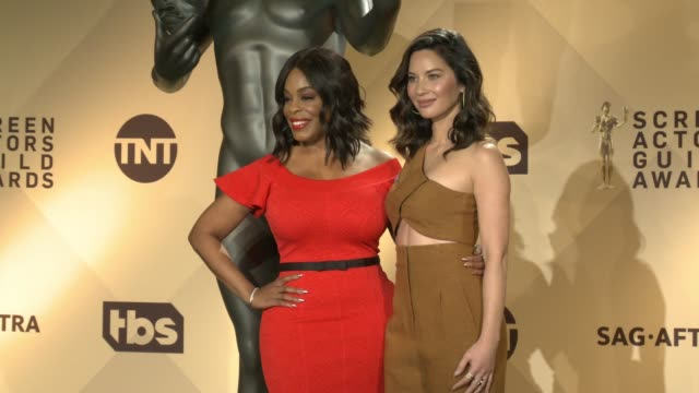Niecy Nash Olivia Munn at the 24th Annual Screen Actors Guild Awards Nominations at Pacific Design Center on December 13 2017 in West Hollywood...