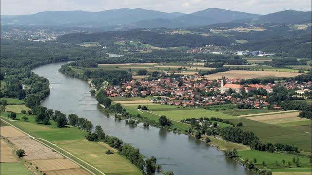 Niederalteich  - Aerial View - Bavaria,  Lower Bavaria,  Landkreis Deggendorf helicopter filming,  aerial video,  cineflex,  establishing shot,  Germany