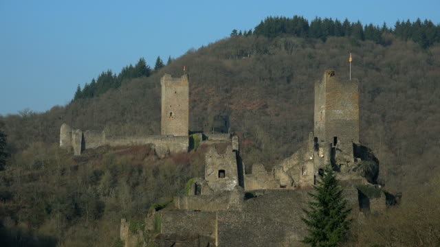 niederburg and oberburg castle, manderscheid, eifel, rhineland-palatinate, germany - old ruin stock videos & royalty-free footage