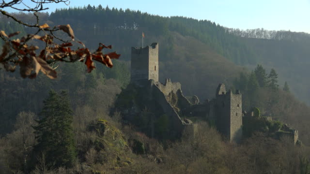 niederburg castle, manderscheid, eifel, rhineland-palatinate, germany - old ruin stock videos & royalty-free footage