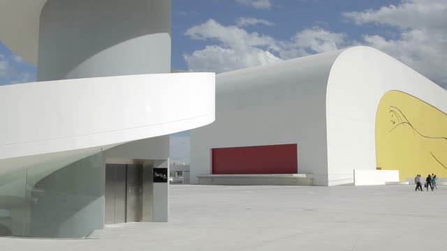 niemeyer centre spain visitors - art museum stock videos & royalty-free footage