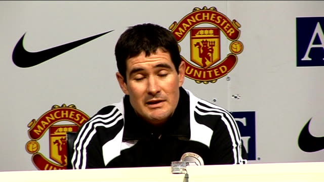 nigel clough press conference; england: manchester: old trafford: int nigel clough press conference sot - big improvement from saturday / couldn't do... - performance improvement stock videos & royalty-free footage