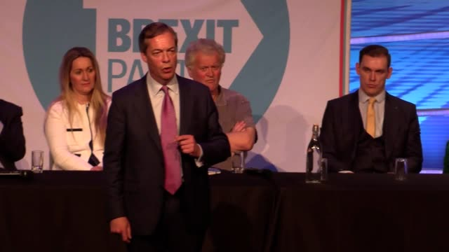 nigel farage and ann widdecombe speak at brexit party event in peterborough, with the former ukip leader saying career politician mps 'haven't had... - ann widdecombe stock videos & royalty-free footage