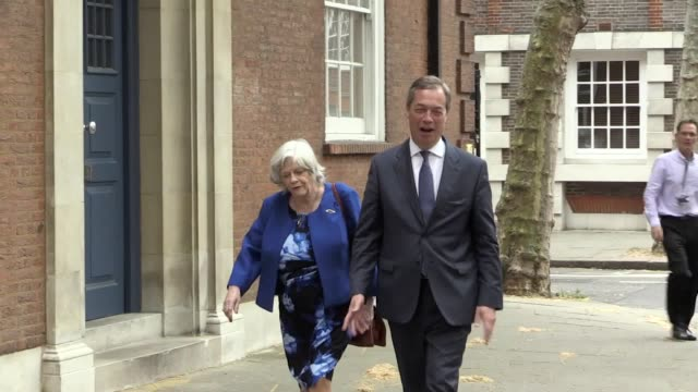 nigel farage and anne widdecombe met the press in front of european parliament information office. farage said anne's doing a brave thing and a right... - ann widdecombe stock videos & royalty-free footage