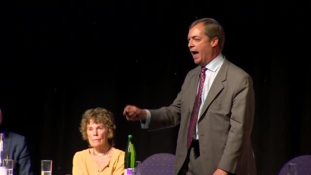 Nigel Farage and David Davis speeches ENGLAND Greater Manchester Bolton INT Nigel Farage MEP speech SOT on a second referendum / People's Vote...