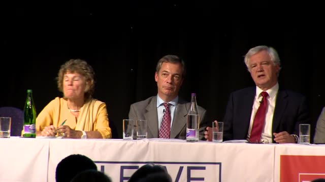 nigel farage and david davis speeches; england: greater manchester: bolton: int david davis mp and nigel farage mep q&a session sot - mep stock videos & royalty-free footage