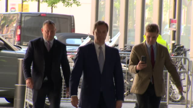 nigel farage arriving at bbc broadcasting house for an interview with andrew marr - bbc stock videos & royalty-free footage
