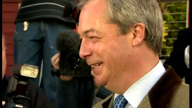 nigel farage casts his vote at polling station in ramsgate shows exterior shots nigel farage posing for photographs after placing vote driven off in... - ramsgate stock videos & royalty-free footage