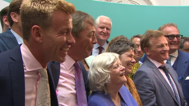 nigel farage celebrating success for the brexit party in the european elections - success stock videos & royalty-free footage